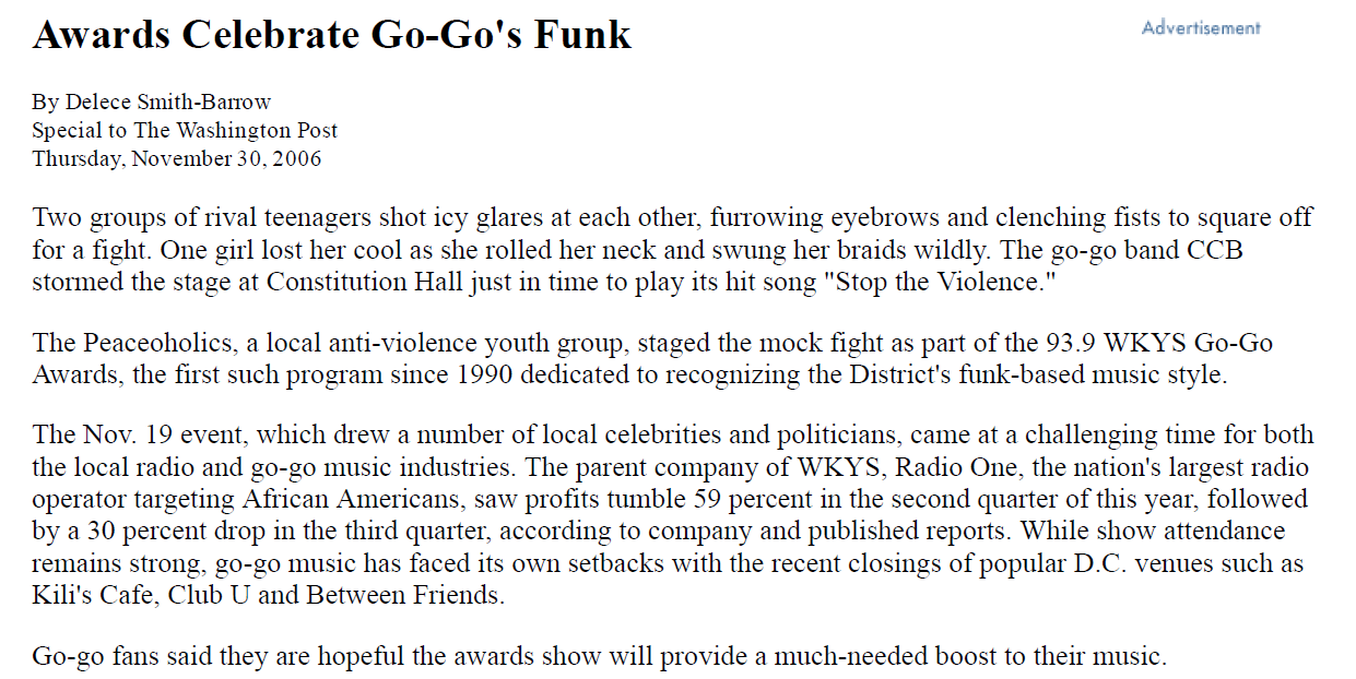 Awards Celebrate Go-Go's Funk - Washington Post