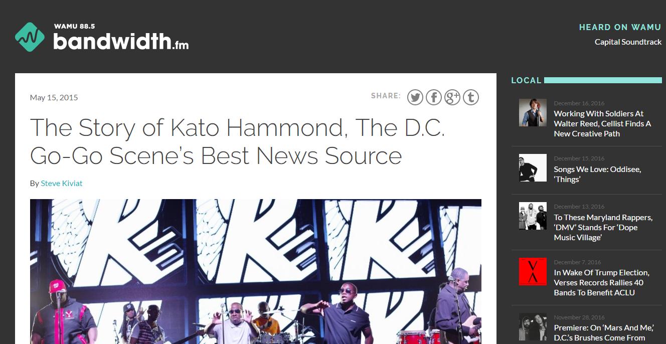 The Story of Kato Hammond, The D.C. Go-Go Scene Best News Source - WAMU Bandwith